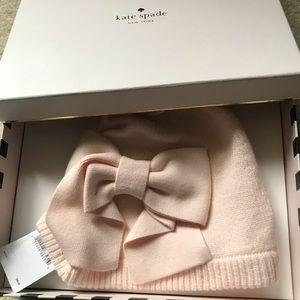 Kate Spade bow pink hat beanie NWT